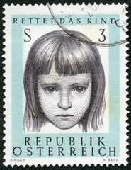 AUSTRIA - 1966: shows Young Girl, Save the Child society, 10th anniversary