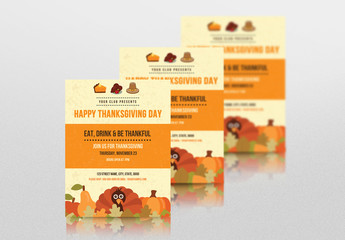 Thanksgiving Invitation Flyer with Festive Graphics and Orange Accents