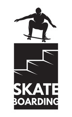 skateboarder athlete in jump as a badge on the topic of skateboarding