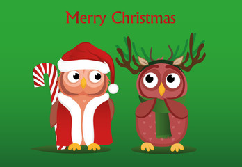 A sweet Owlet boy in Santa Claus suit wants to give a Christmas