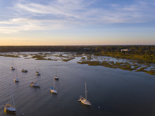 Aerial view of boats in Beaufort, South Carolina