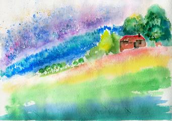 sketch landscape House watercolor