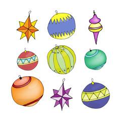 Christmas decorations illustration - Christmas balls - outline.  illustration on white background