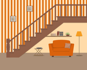 Orange armchair, located under the stairs. There is also a shelf with books and flower, a lamp and a table in the picture. There are pictures on the striped wall. Vector flat illustration.