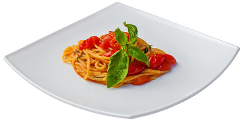 Spaghetti with tomato sauce and basil isolated on white background