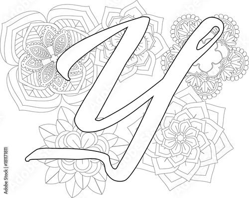 Mandala Y Monogramlogo Doodle Floral Letters Coloring Book For Adult