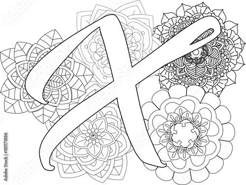 Mandala X Monogramlogo Doodle Floral Letters Coloring Book For Adult