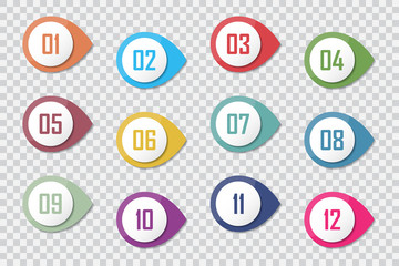 Number Bullet Point Colorful 3d Markers 1 to 12 Vector Papier Peint