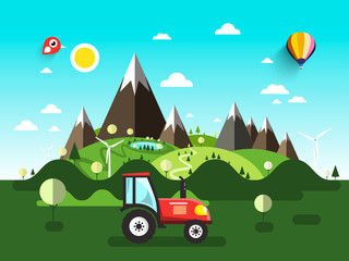 Poster Turquoise Field with Tractor. Flat Design Vector Landscape.