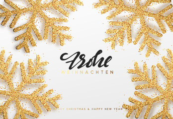 Frohe Weihnachten. Xmas background with shining golden snowflakes. Christmas greeting card vector Illustration.