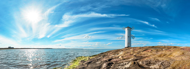 Foto op Canvas Vuurtoren Panoramic image of a seaside by lighthouse in Swinoujscie, Poland