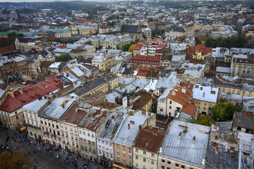 ?olorful roofs of the old city. Lviv, Ukraine