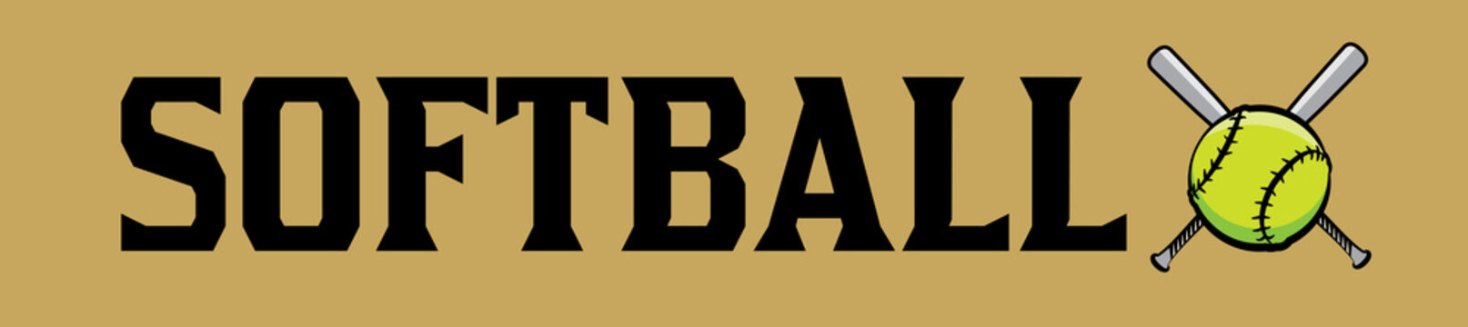 Softball and Ball Word Art Banner Illustration