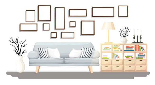 Interior Design. Modern living room with grey sofa, vase, shelf with books and floor lamp. Apartment interior in the flat style. Isolated vector illustration cozy interior on the white background