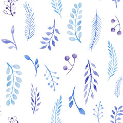 Blue leaves pattern.Watercolor seamless pattern with branch and leaf. For design, print or background