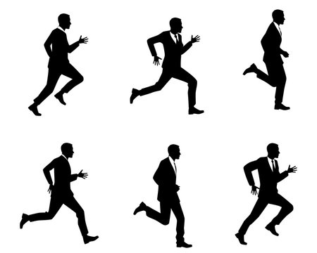 Silhouettes of men running