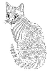 Hand drawn bengal cat. Sketch for anti-stress adult coloring book in zen-tangle style. Vector illustration  for coloring page.
