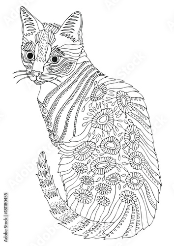 Hand Drawn Bengal Cat Sketch For Anti Stress Adult Coloring Book In Zen