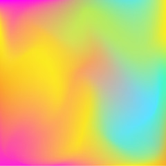 Neon holographic colorful vector background. Abstract soft pastel colors backdrop. In yellow, pink and blue colors.