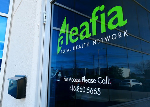 The storefront of Aleafia, a company owned by former police chief and Conservative cabinet minister and his business partners which authorizes patients with authorizations for medical marijuana use, is shown in Toronto