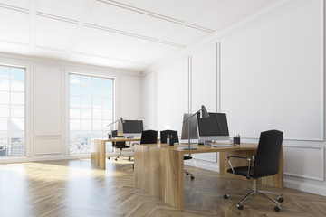 White open space office interior corner