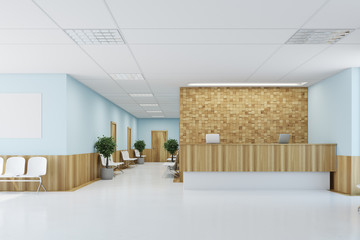Blue and wooden reception desk