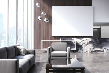 Modern living room with poster