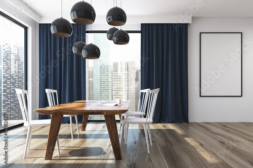 Blue curtains dining room poster stock photo and for Dining room posters