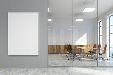 Gray office lobby and a meeting room with poster