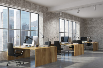 Concrete open space office corner, wood