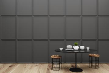 Small gray dining room interior