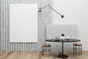 White and gray small dining room, poster