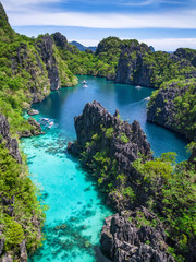 El Nido in Palawan, Philippines, aerial view of beautiful lagoon and limestone cliffs.