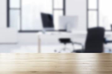 Loft open space office interior blurred