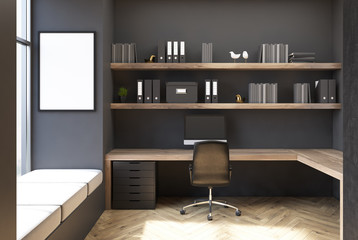 Gray CEO office interior, poster