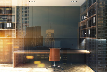 Black home office interior toned