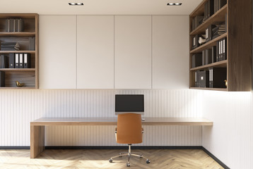 White home office interior