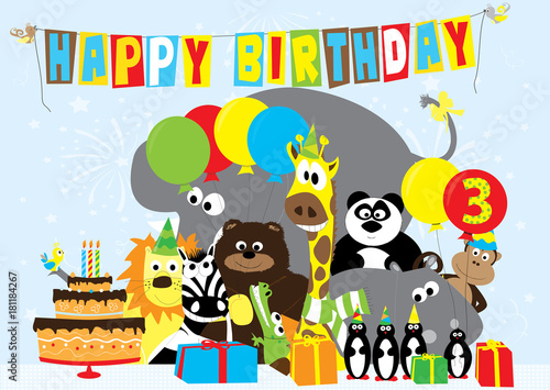 Birthday Card With Animals For 3 Years Old Child Stock Image And