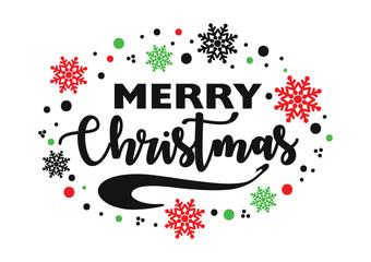 Merry Christmas vector inscription.