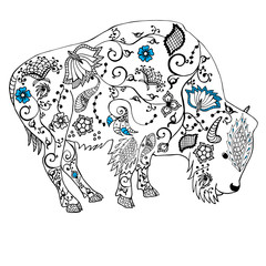 Bison hand drawn. Doodle . Object isolated on white.