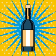 champagne bottle drink alcohol pop art design vector illustration