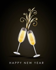 happy new year pair of champagne glass cheers drink celebration vector illustration