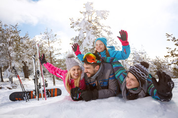 Family for winter holiday enjoy on snow