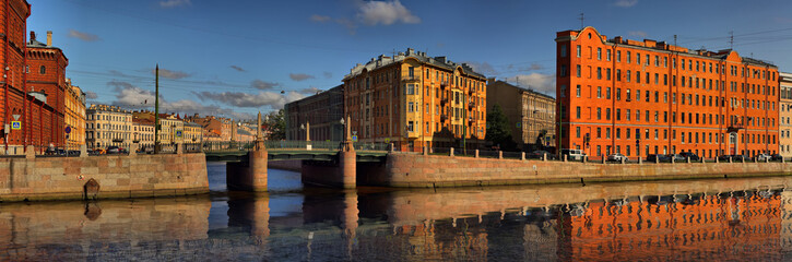 The intersection of the Fontanka river and Griboedov canal in Saint Petersburg