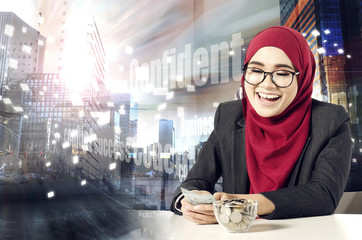 Creative ideas concept with abstract background, young professional entrepreneur sitting and smile while holding banknote