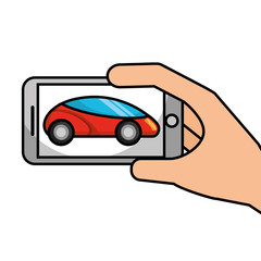 hand holding smartphone gps navigation car vehicle vector illustration