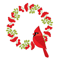 Vector Cardinal with Christmas Wreath