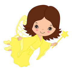 Vector Cute Little Fairy with Magic Wand Flying