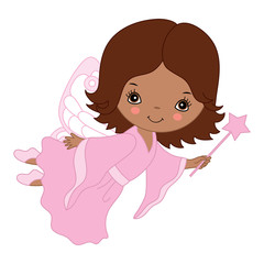 Vector Cute Little African American Fairy with Magic Wand