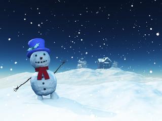 3D Christmas landscape with cute snowman